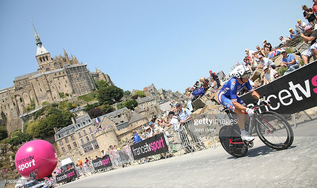 <a gi-track='captionPersonalityLinkClicked' href=/galleries/search?phrase=Pierrick+Fedrigo&family=editorial&specificpeople=649043 ng-click='$event.stopPropagation()'>Pierrick Fedrigo</a> of France and FDJ.fr in action during Stage Eleven of the Tour de France 2013 - the 100th Tour de France -, a 33 km individual time trial from Avranches to Le Mont-Saint-Michel on July 10, 2013 in Le Mont-Saint-Michel, France.