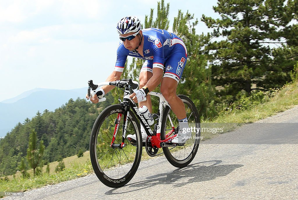 <a gi-track='captionPersonalityLinkClicked' href=/galleries/search?phrase=Pierrick+Fedrigo&family=editorial&specificpeople=649043 ng-click='$event.stopPropagation()'>Pierrick Fedrigo</a> of France and FDJ.fr rides during stage seventeen of the 2013 Tour de France, a 32KM Individual Time Trial from Embrun to Chorges, on July 17, 2013 in Chorges, France.
