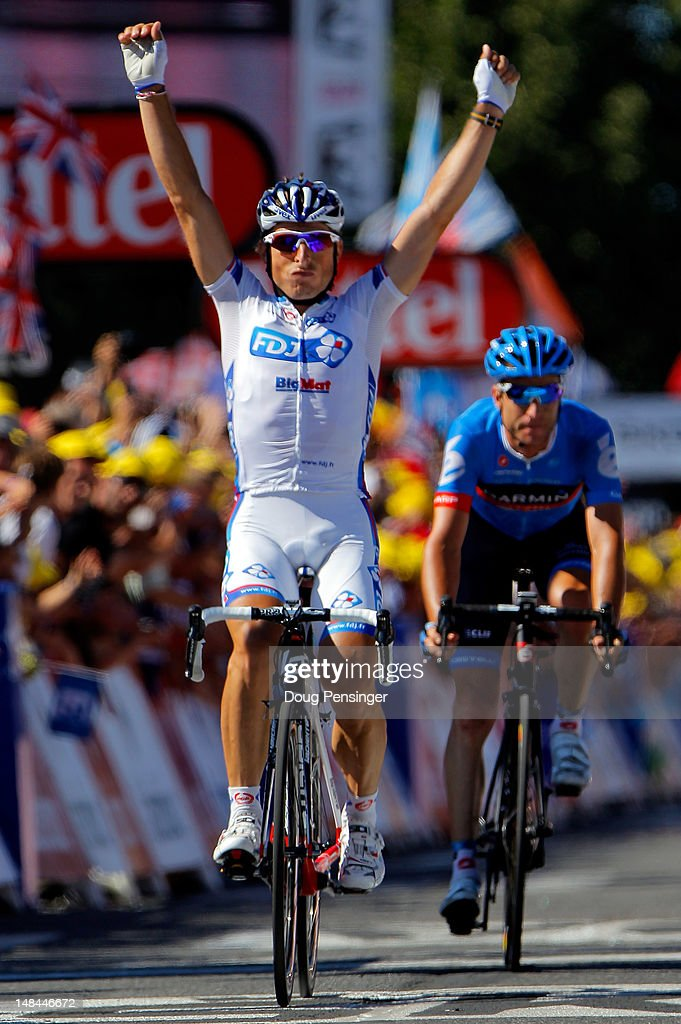 <a gi-track='captionPersonalityLinkClicked' href=/galleries/search?phrase=Pierrick+Fedrigo&family=editorial&specificpeople=649043 ng-click='$event.stopPropagation()'>Pierrick Fedrigo</a> of France riding for FDJ-Big Mat celebrates his victory in stage fifteen of the 2012 Tour de France from Samatan to Pau on July 16, 2012 in Pau, France. <a gi-track='captionPersonalityLinkClicked' href=/galleries/search?phrase=Christian+Vande+Velde&family=editorial&specificpeople=2841213 ng-click='$event.stopPropagation()'>Christian Vande Velde</a> (R) of the USA riding for Garmin-Sharp finishes in second place.