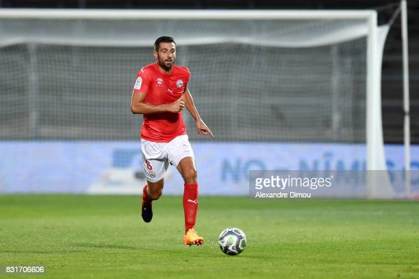 Pierrick Valdivia of Nimes during the Ligue 2 match between Nimes Olympique and As Nancy Lorraine at Stade des Costieres on August 14 2017 in Nimes