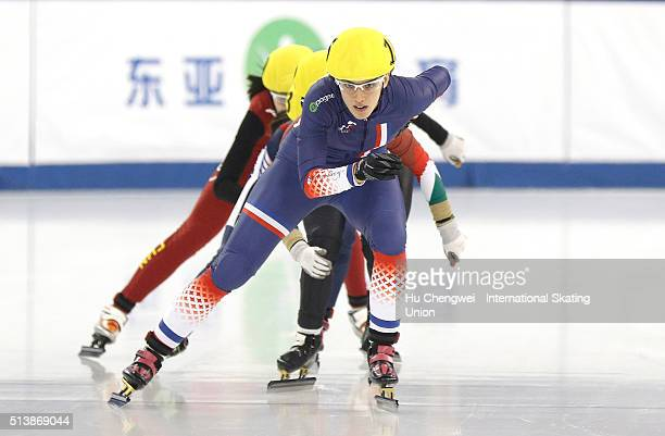 Pierron Veronique of France leads in women's 500m short track speed skating final on day two of the ISU Shanghai Trophy event at the Oriental Sports...