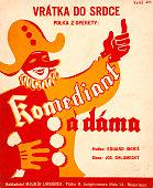 Pierrot / court jester / fool on Czech score cover for polka 'Komediant a dáma' with music by Eduard Ingris published by Nakladatel Mojmír Urbánek...