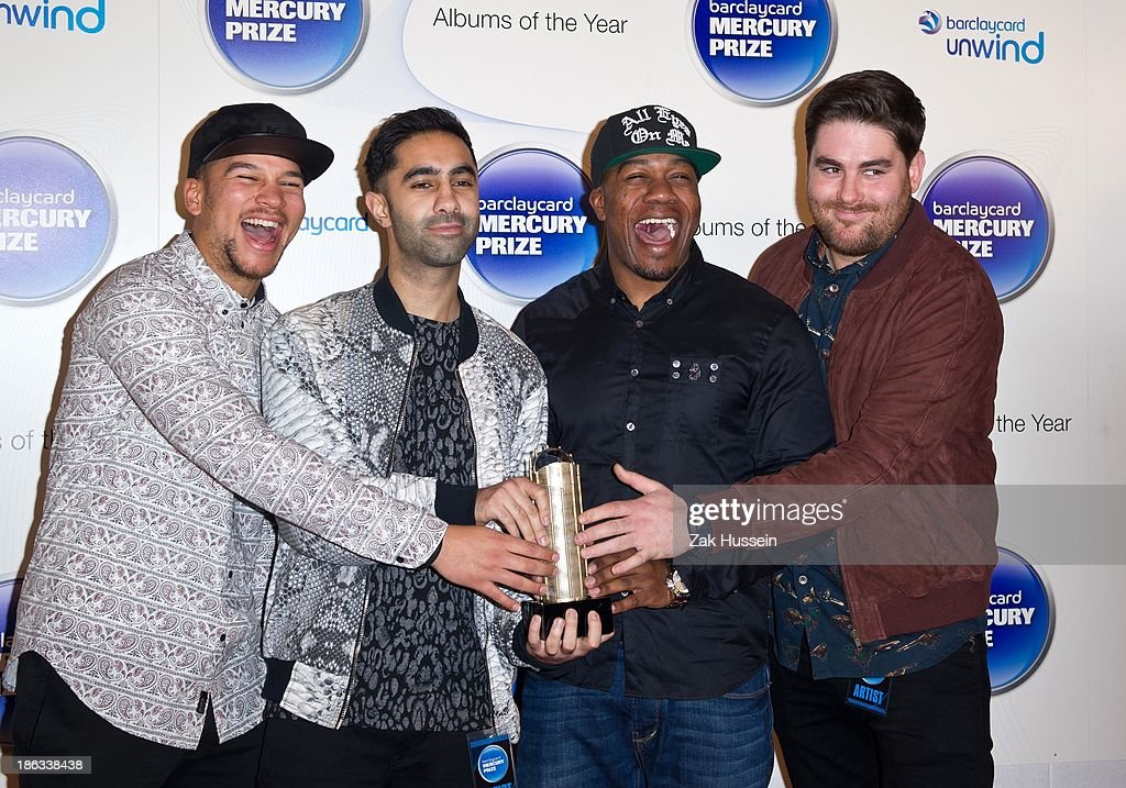 Piers Agget, Kesi Dryden, Amir Amor and DJ Locksmith of Rudimental attend the Barclaycard Mercury Prize at The Roundhouse on October 30, 2013 in London, England.