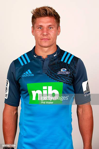 Piers Francis during the Auckland Blues 2016 Super Rugby headshots session on January 27 2016 in Auckland New Zealand