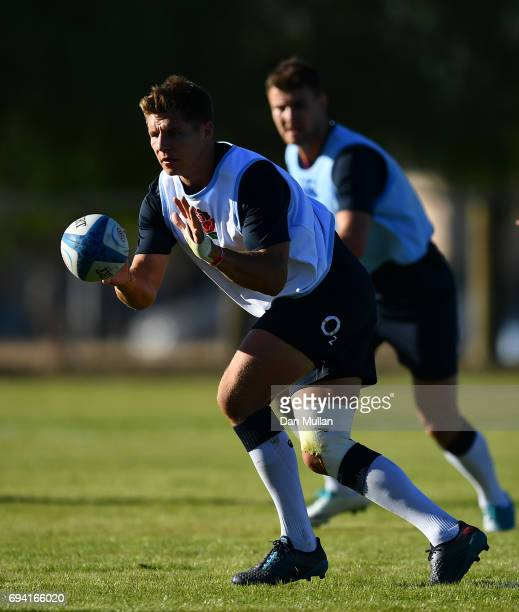 Piers Francis of England receives a pass during a training session at the Universitario Rugby Club on June 9 2017 in San Juan San Juan