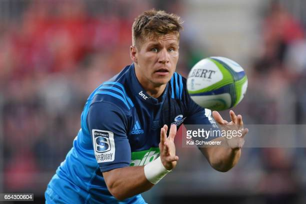 Piers Francis of the Blues catches the ball during the round four Super Rugby match between the Crusaders and the Blues at AMI Stadium on March 17...