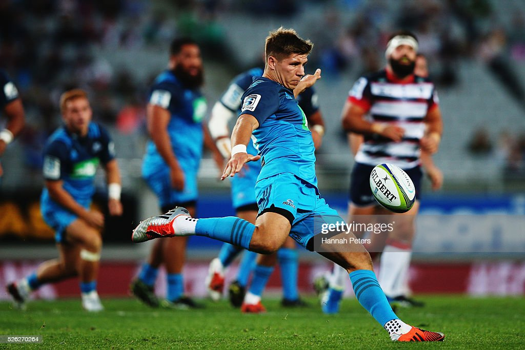 Piers Francis of the Blues kicks the ball through during the Super Rugby round ten match between the Blues and the Melbourne Rebels at Eden Park on April 30, 2016 in Auckland, New Zealand.