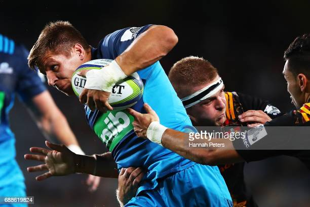 Piers Francis of the Blues makes a break during the round 14 Super Rugby match between the Blues and the Chiefs and Eden Park on May 26 2017 in...
