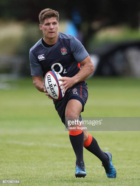 Piers Francis runs with the ball during the England training session at the Lensbury Club on August 7 2017 in Teddington England