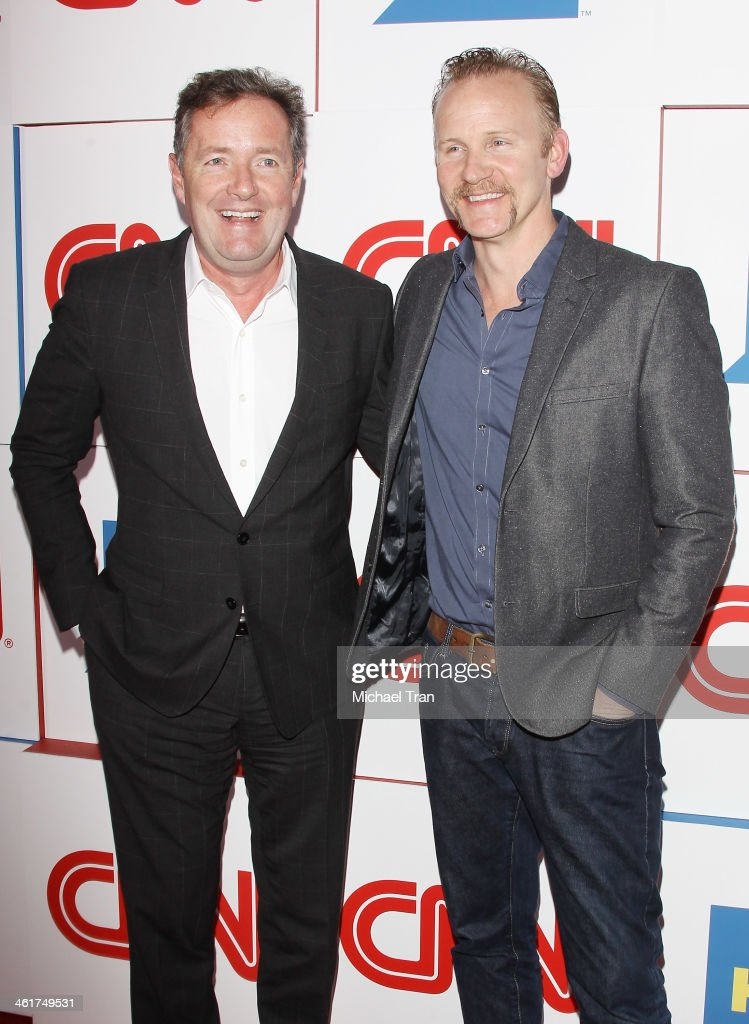 Piers Morgan and Morgan Spurlock arrive at the CNN Worldwide AllStar 2014 Winter TCA party held at Langham Huntington Hotel on January 10 2014 in...