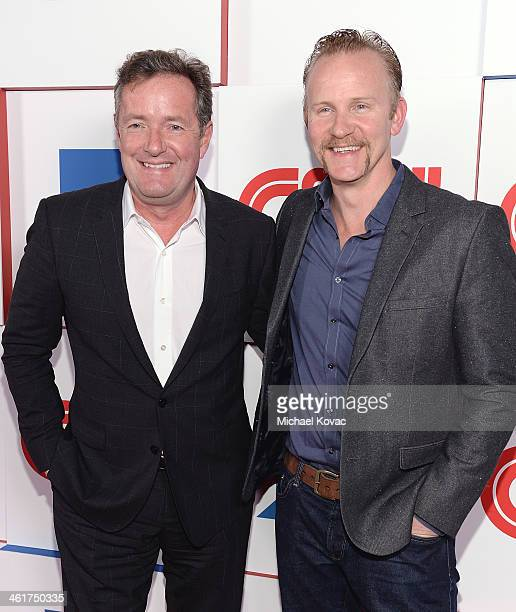 Piers Morgan and Morgan Spurlock attend the CNN Worldwide AllStar Party At TCA at Langham Hotel on January 10 2014 in Pasadena California