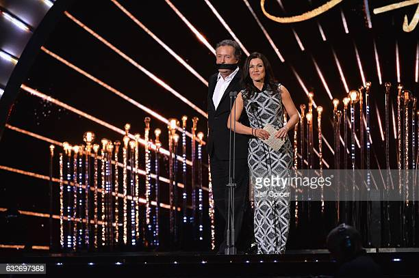 Piers Morgan and Susanna Reid on stage during the National Television Awards at The O2 Arena on January 25 2017 in London England