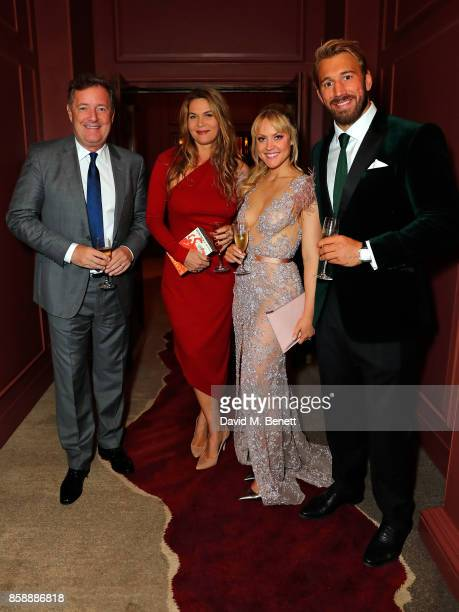 Piers Morgan Celia Walden Camilla Kerslake and Chris Robshaw attend Chris Robshaw and Camilla Kerslake's engagement party at Ten Trinity Square on...