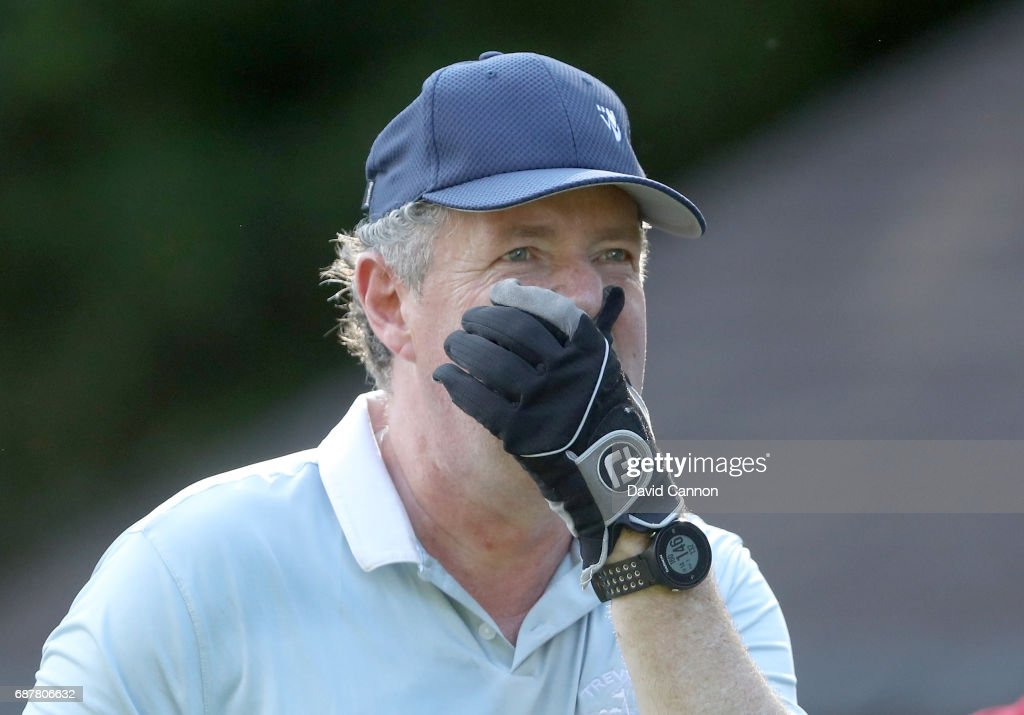 Piers Morgan of England the television personlity reacts to a shot during the pro-am for the 2017 BMW PGA Championship on the West Course at Wentworth on May 24, 2017 in Virginia Water, England.