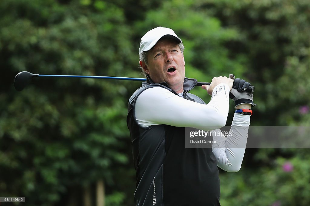 Piers Morgan tees off during the Pro-Am prior to the BMW PGA Championship at Wentworth on May 25, 2016 in Virginia Water, England.