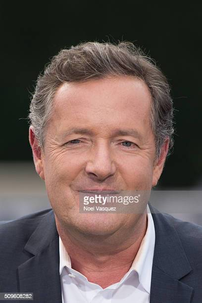 Piers Morgan visits 'Extra' at Universal Studios Hollywood on February 11 2016 in Universal City California