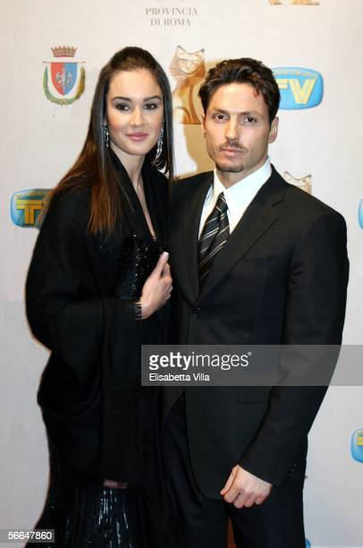 Piersilvio Berlusconi with his girlfriend Silvia Toffanin attend the TV Sport Cinema And Music Italian Awards at the Auditorium on January 22 2006 in...