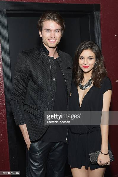Pierson Fode and actress Victoria Justice attend Rolling Stone and Google Play event during Grammy Week at the El Rey Theatre on February 5 2015 in...