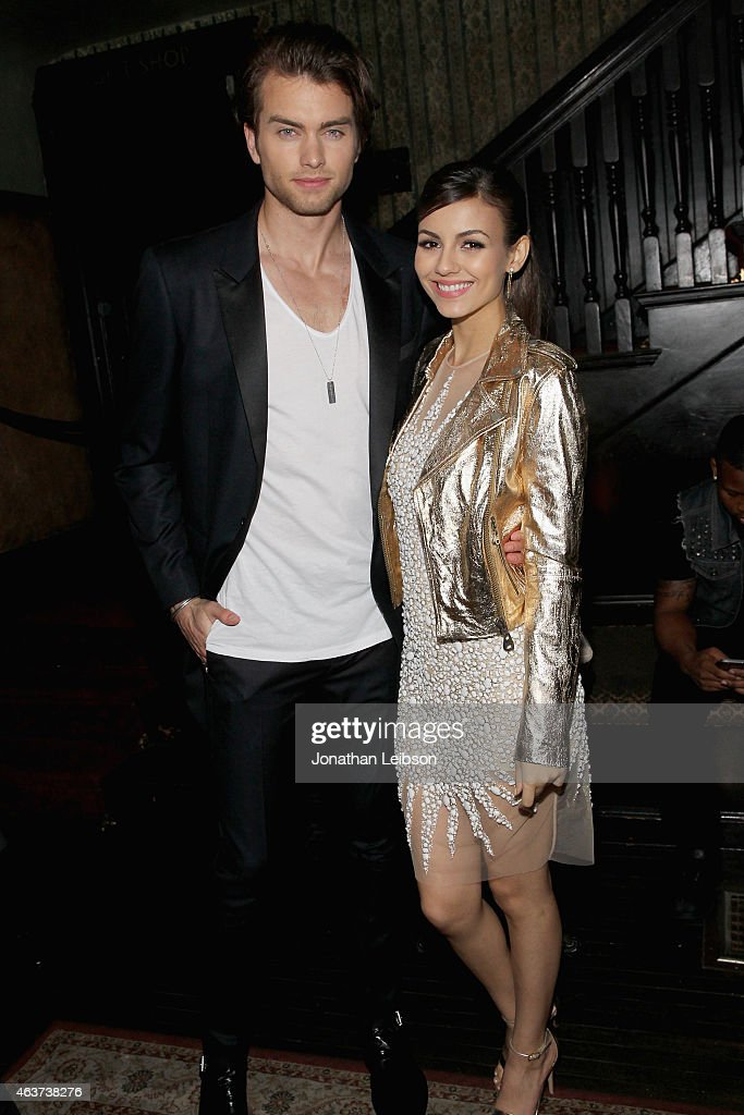 Pierson Fode and actress Victoria Justice attend Vanity Fair and FIAT celebration of Young Hollywood, hosted by Krista Smith and James Corden, to benefit the Terrence Higgins Trust at No Vacancy on February 17, 2015 in Los Angeles, California.