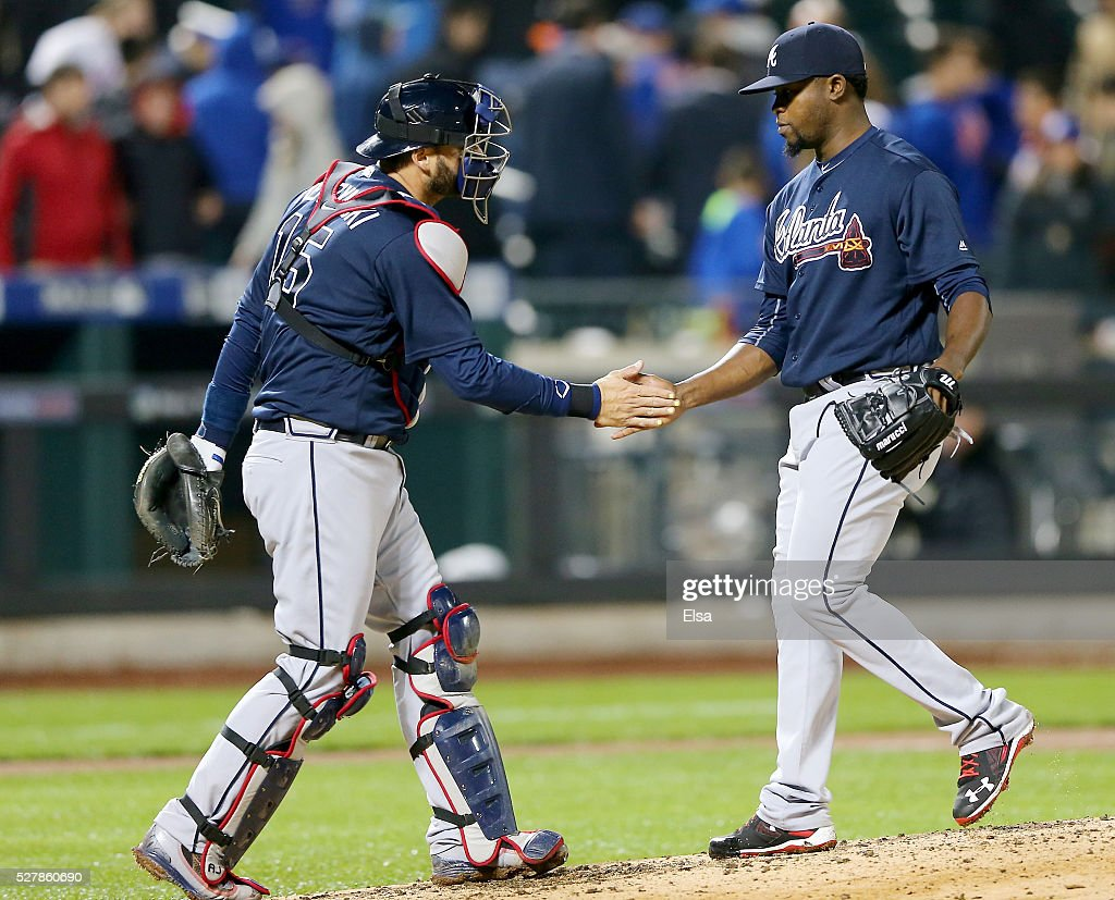 <a gi-track='captionPersonalityLinkClicked' href=/galleries/search?phrase=A.J.+Pierzynski&family=editorial&specificpeople=204486 ng-click='$event.stopPropagation()'>A.J. Pierzynski</a> #15 and Arodys Vizcaino #38 of the Atlanta Braves celebrate the 3-0 win over the New York Mets at Citi Field on May 3, 2016 in the Flushing neighborhood of the Queens borough of New York City.