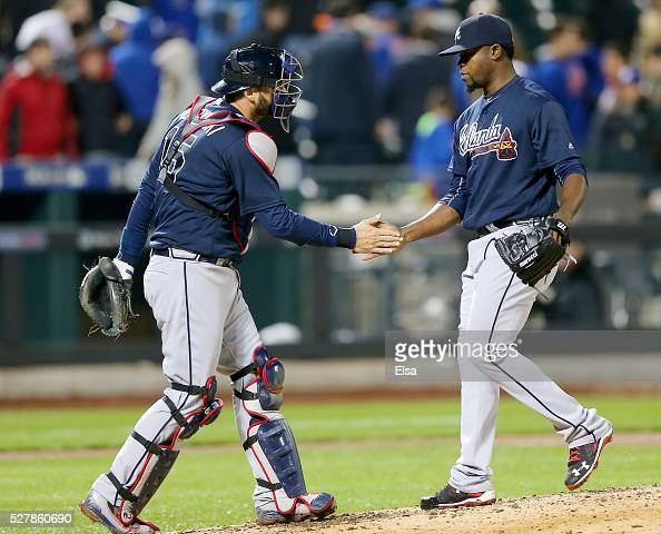 J Pierzynski and Arodys Vizcaino of the Atlanta Braves celebrate the 30 win over the New York Mets at Citi Field on May 3 2016 in the Flushing...