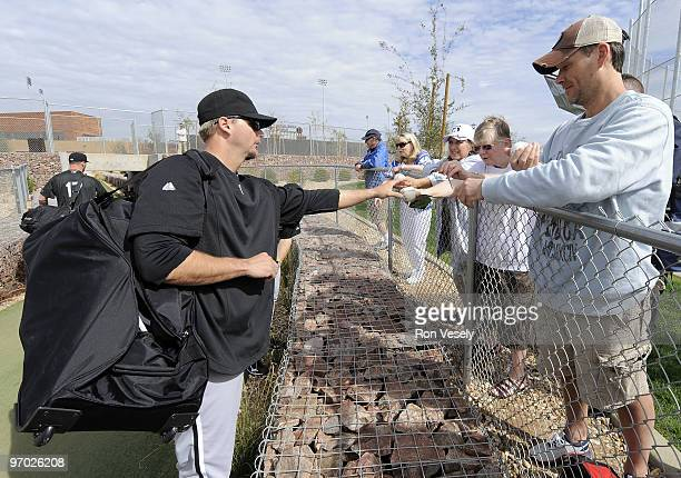 J PIerzynski of Chicago White Sox signs autographs after a spring training workout on February 24 2010 at the White Sox training facility at...