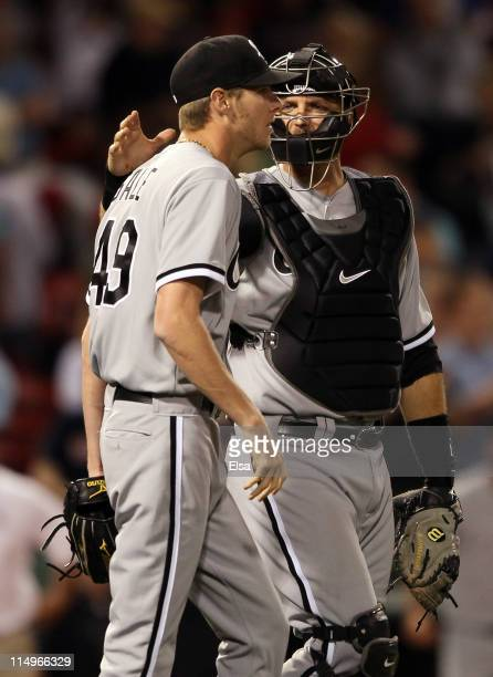 J Pierzynski of the Chicago White Sox celebrates the win with teammate Chris Sale on May 31 2011 at Fenway Park in Boston Massachusetts The Chicago...