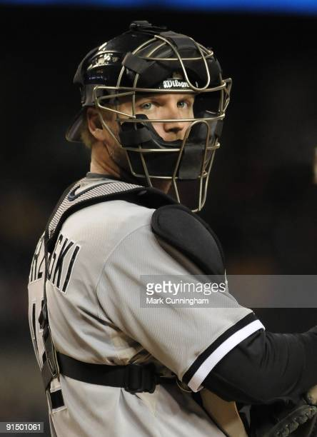 J Pierzynski of the Chicago White Sox looks on against the Detroit Tigers during the game at Comerica Park on October 2 2009 in Detroit Michigan The...