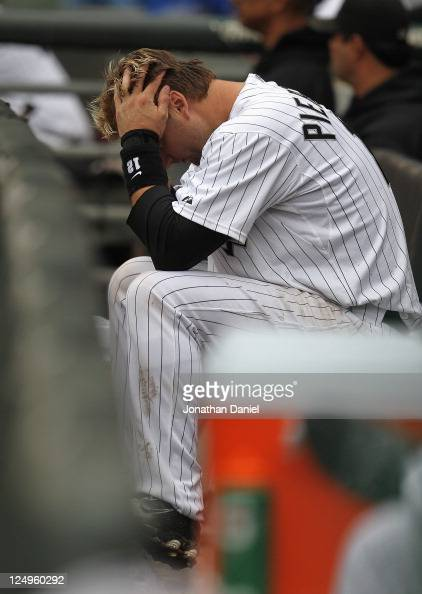 J Pierzynski of the Chicago White Sox reacts in the dugout late in a game against the Detroit Tigers at US Cellular Field on September 14 2011 in...