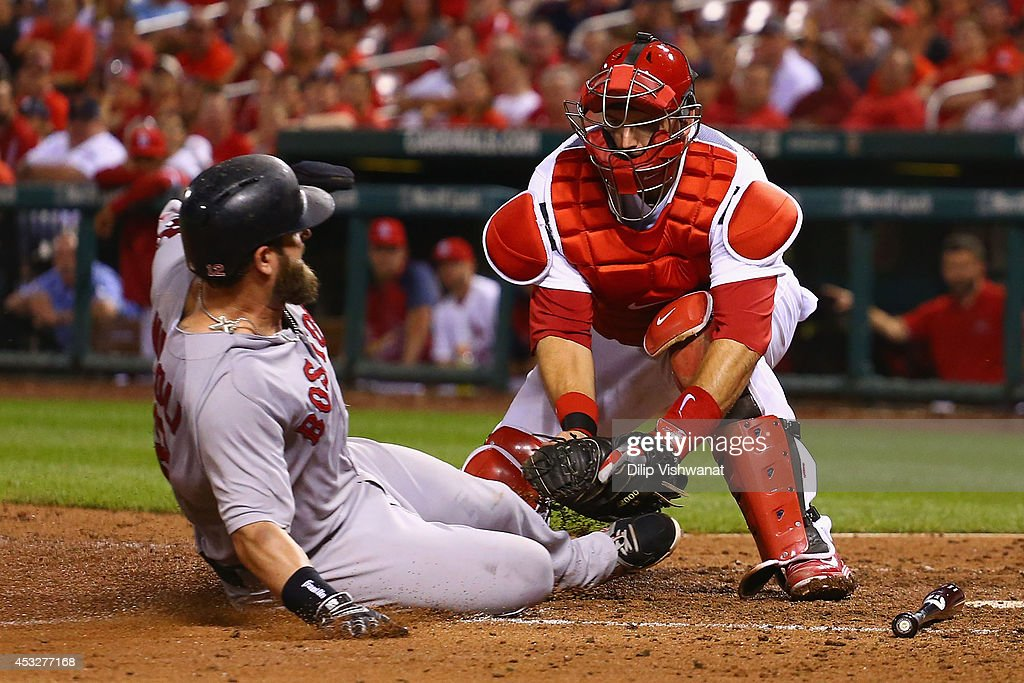 <a gi-track='captionPersonalityLinkClicked' href=/galleries/search?phrase=A.J.+Pierzynski&family=editorial&specificpeople=204486 ng-click='$event.stopPropagation()'>A.J. Pierzynski</a> #35 of the St. Louis Cardinals tags out <a gi-track='captionPersonalityLinkClicked' href=/galleries/search?phrase=Mike+Napoli&family=editorial&specificpeople=525007 ng-click='$event.stopPropagation()'>Mike Napoli</a> #12 of the Boston Red Sox in the ninth inning at Busch Stadium on August 6, 2014 in St. Louis, Missouri. The Red Sox beat the Cardinals 2-1.