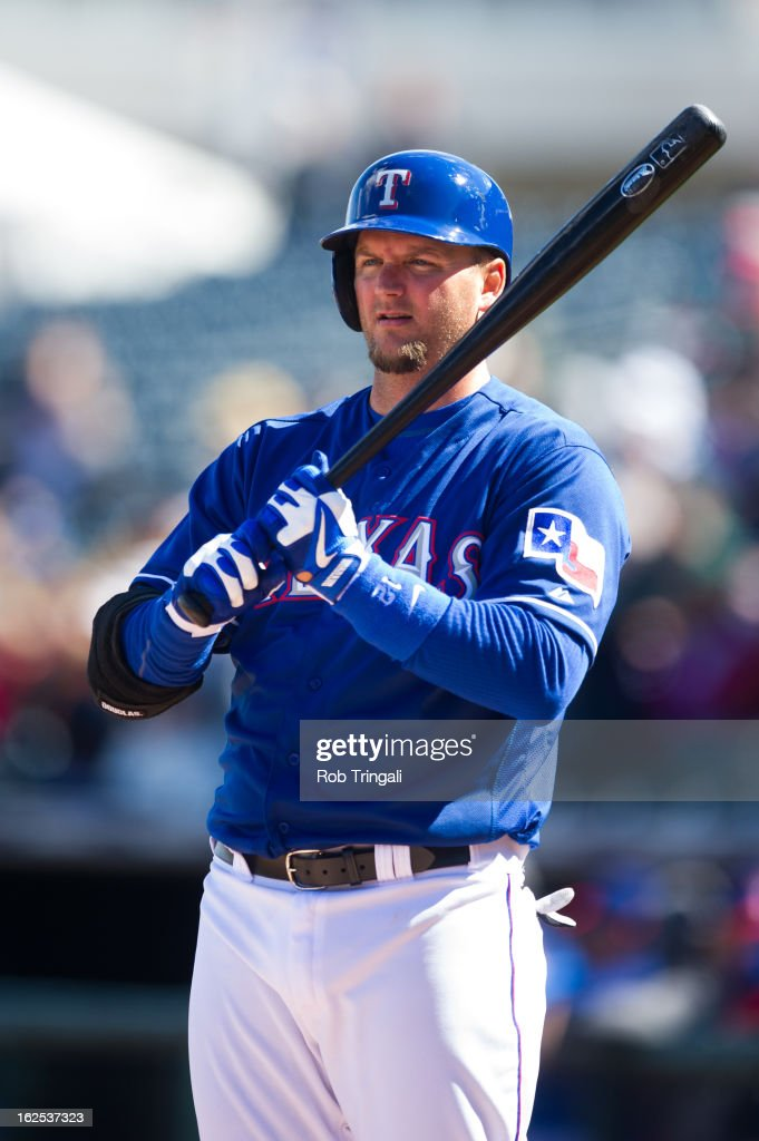 <a gi-track='captionPersonalityLinkClicked' href=/galleries/search?phrase=A.J.+Pierzynski&family=editorial&specificpeople=204486 ng-click='$event.stopPropagation()'>A.J. Pierzynski</a> #12 of the Texas Rangers looks on during a spring training game against the Kansas City Royals at Surprise Stadium on February 24, 2013 in Surprise, Arizona.