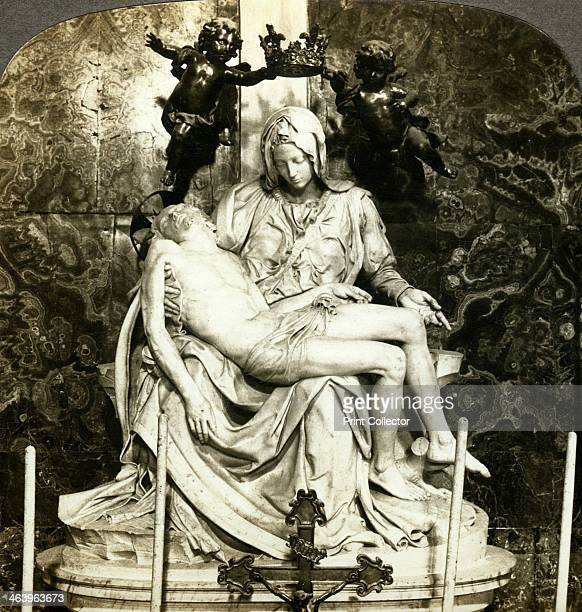 Pieta by Michelangelo St Peter's Basilica Rome Italy The pieta is a portrayal of the Virgin Mary cradling the body of Christ Michelangelo's version...