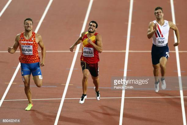 Pieter Braun of Netherlands Jorge Urena of Spain and Martin Roe of Norway competes in the Men's Decathlon 400 metres during day eight of the 16th...