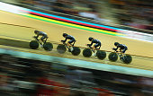 Pieter Bulling Dylan Kennett Alex Frame and Marc Ryan of New Zealand compete in the Men's Team Pursuit First Round during day two of the UCI Track...