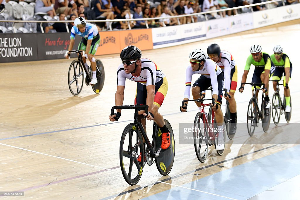 Pieter Bulling of Southland competes in the Elite Men 30k Points race final during the New Zealand Track National Championships on February 12, 2016 in Cambridge, New Zealand.