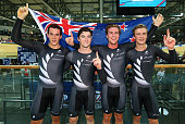 Pieter Bulling Regan Gough Dylan Kennett and Alex Frame of New Zealand celebrate winning gold medal in the Men's Team Pursuit Final during day two of...