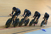 Pieter Bulling Regan Gough Dylan Kennett and Alex Frame of New Zealand win the gold medal in the Men's Team Pursuit Final during day two of the UCI...