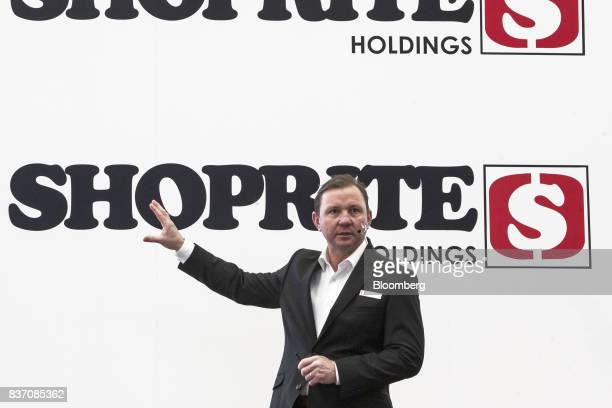 Pieter Engelbrecht chief executive officer of Shoprite Holdings Ltd gestures as he speaks during a news conference in Cape Town South Africa on...