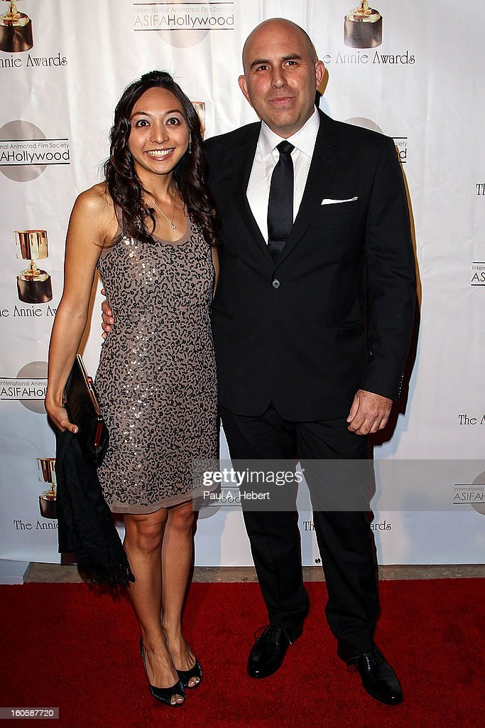 Pieter Kaufman (R) and guest arrive at the 40th Annual Annie Awards held at Royce Hall on the UCLA Campus on February 2, 2013 in Westwood, California.