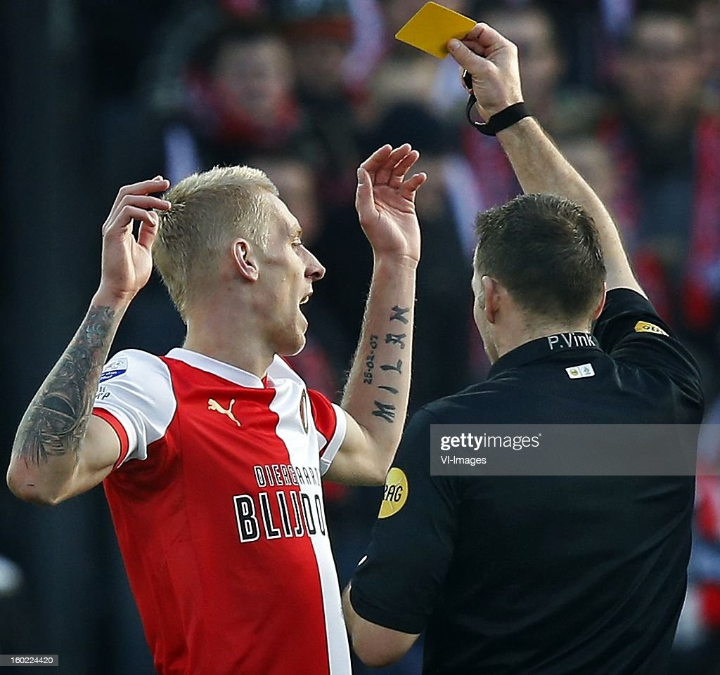 Pieter Vink (R), Lex Immers of Feyenoord (L) during the Dutch Eredivise match between Feyenoord and FC Twente at stadium De Kuip on January 27, 2013 in Rotterdam, The Netherlands.