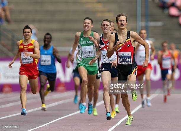 PieterJan Hannes of Belgium leads in the Final of The Men's 1500m during day four of The European Athletics U23 Championships 2013 on July 14 2013 in...