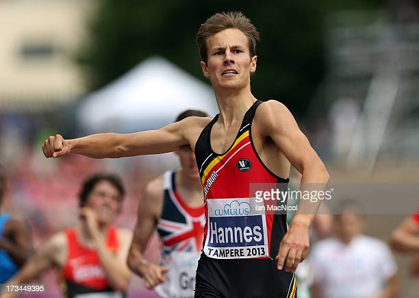 PieterJan Hannes of Belgium wins the Final of The Men's 1500m during day four of The European Athletics U23 Championships 2013 on July 14 2013 in...