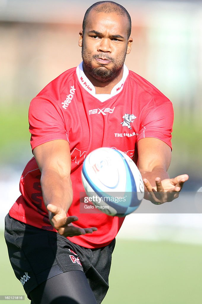 JP Pietersen during The Sharks training session at Kings Park on February 19, 2013 in Durban, South Africa.