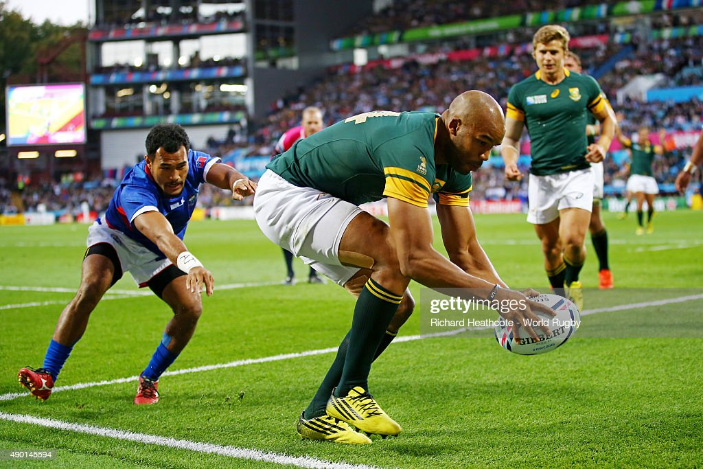 JP Pietersen of South Africa scores his third try during the 2015 Rugby World Cup Pool B match between South Africa and Samoa at Villa Park on September 26, 2015 in Birmingham, United Kingdom.