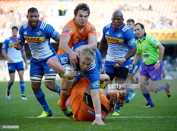 PieterSteph du Toit of the Stormers in action during the Super Rugby match between DHL Stormers and Toyota Cheetahs at DHL Newlands on May 28 2016 in...