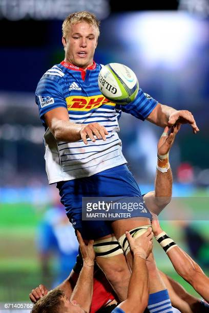 PieterSteph du Toit of the Western Stormers controls the lineout ball during the Super Rugby match between New Zealand's Canterbury Crusaders and...