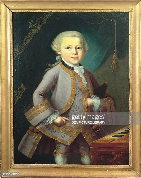 Pietro Antonio Lorenzoni Portrait of Wolfgang Amadeus Mozart Austrian composer at age 7 in formal dress