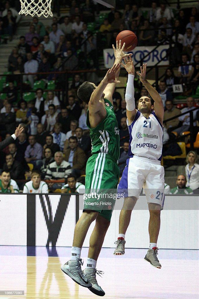 Pietro Aradori, #21 of Mapooro Cantu in action during the 2012-2013 Turkish Airlines Euroleague Regular Season Game Day 7 between Mapooro Cantu v Panathinaikos Athens at Pala Desio on November 23, 2012 in Cantu, Italy.