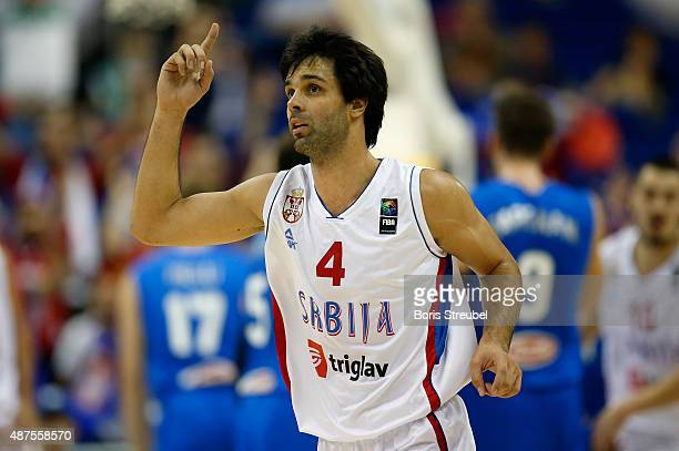 Pietro Aradori of Italy celebrates during the FIBA EuroBasket 2015 Group B basketball match between Serbia and Italy at Arena of EuroBasket 2015 on...