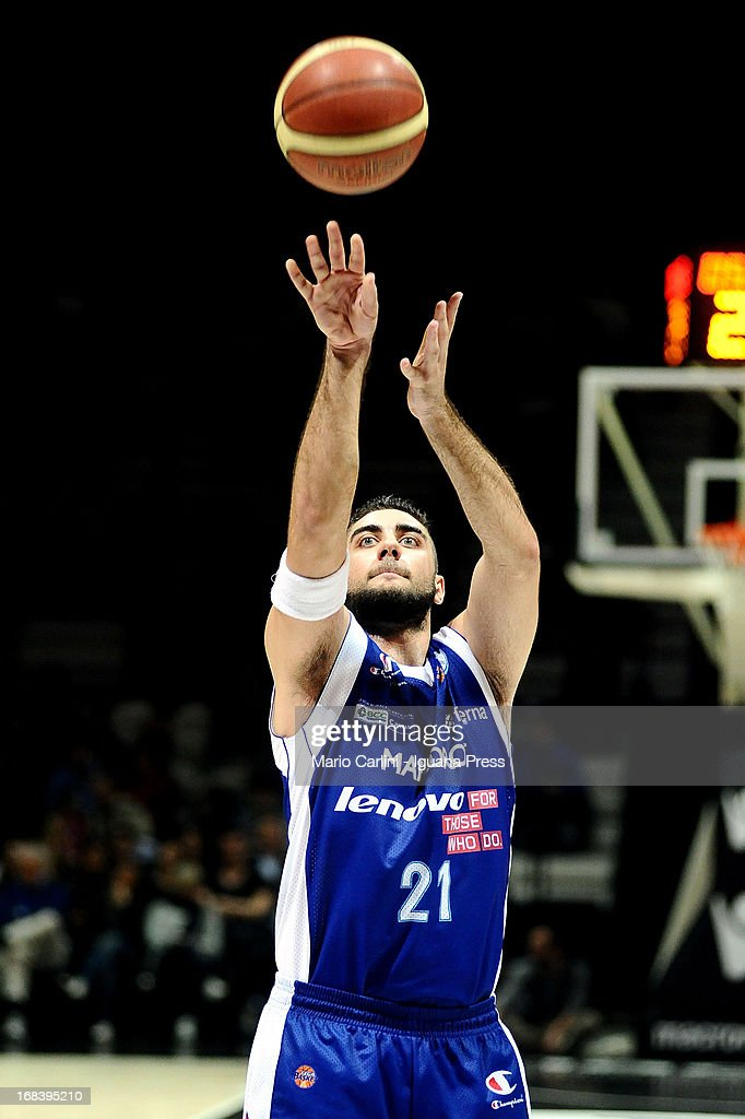 Pietro Aradori of Lenovo in action during the LegaBasket A1 basketball match between Oknoplast Bologna and Lenovo Cantu at Unipol Arena on May 5, 2013 in Bologna, Italy.